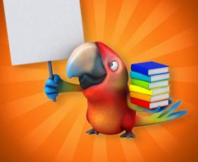 обоя 3д графика, юмор , humor, попугай