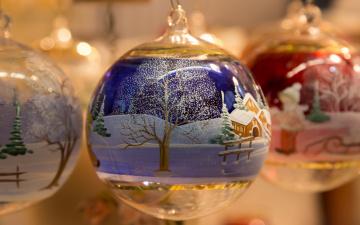 обоя праздничные, шары, макро, пейзаж, зимний