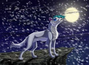 Картинка рисованное животные +волки луна снег волк