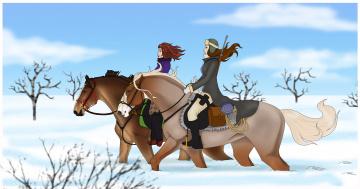 Картинка рисованные животные +лошади лошади снег всадники