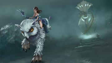 Картинка фэнтези красавицы+и+чудовища существо клюв глаза лапы девушка оружие башня mirana dota+2 лук+и+стрелы грифон
