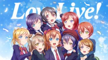 Картинка аниме love+live +school+idol+project девушки фон взгляд