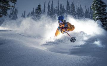 обоя спорт, лыжный спорт, снег, лыжник