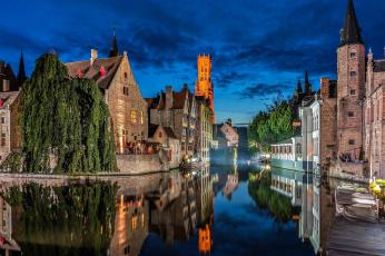 Картинка города брюгге+ бельгия отражение канал