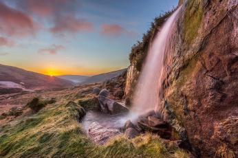 Картинка природа водопады лес река водопад