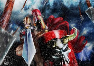 обоя фэнтези, нежить, дождь, череп, меч, доспехи, воин, горящие, глаза