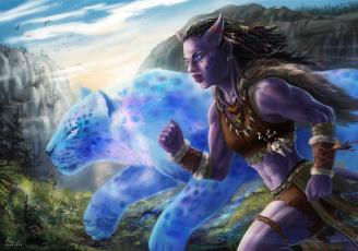 обоя фэнтези, существа, горы, животное, девушка, бежит