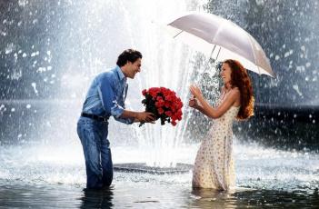обоя разное, мужчина женщина, букет, влюбленные, зонтик, фонтан, розы