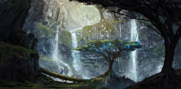 Картинка фэнтези пейзажи деревья огни скалы арт водопады