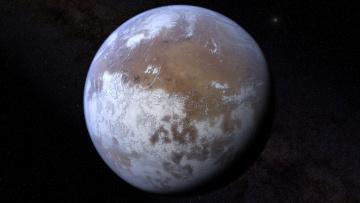 обоя космос, марс, ледяная, планета
