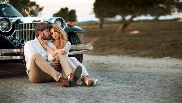 обоя разное, мужчина женщина, дорога, влюбленные, автомобиль