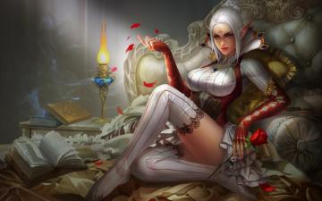 обоя фэнтези, эльфы, девушка, вино, бокал, роза, арт, эльфийка, ложе, yunpeng, li