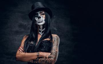 обоя разное, маски,  карнавальные костюмы, makeup, female, look, day, of, the, dead, brazos, woman, tattoos