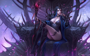 обоя фэнтези, девушки, девушка, фентези, магия, арт, жезл, трон, lilith, tianzhu, chen