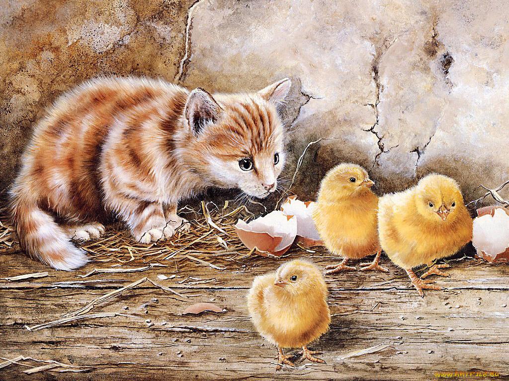 Главный экран, смешные рисунки домашних животных