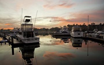 Картинка корабли порты причалы небо лодки закат пристань
