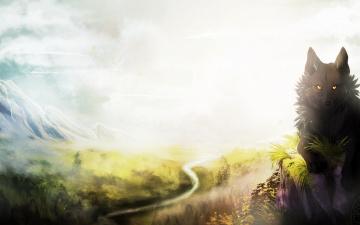 Картинка рисованные животные +волки природа серый небо зверь волк