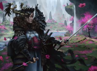 обоя фэнтези, девушки, девушка, самурай, доспехи, меч