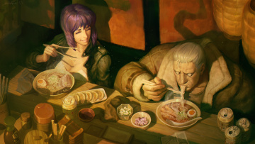 обоя аниме, ghost in the shell, batou, motoko, kusanagi, ghost, in, the, shell, art, major