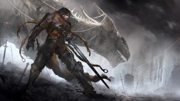 обоя фэнтези, драконы, мужчина, меч, латы, фон, дракон