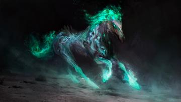 обоя фэнтези, существа, фон, конь, существо