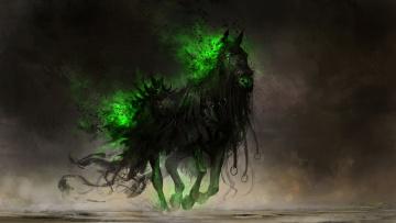 обоя фэнтези, существа, конь, существо, фон