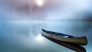 обоя корабли, лодки,  шлюпки, туман, лодка, река