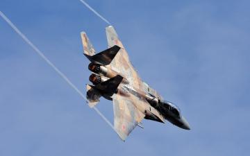 обоя авиация, боевые самолёты, вираж, самолет, небо, полет, f-15