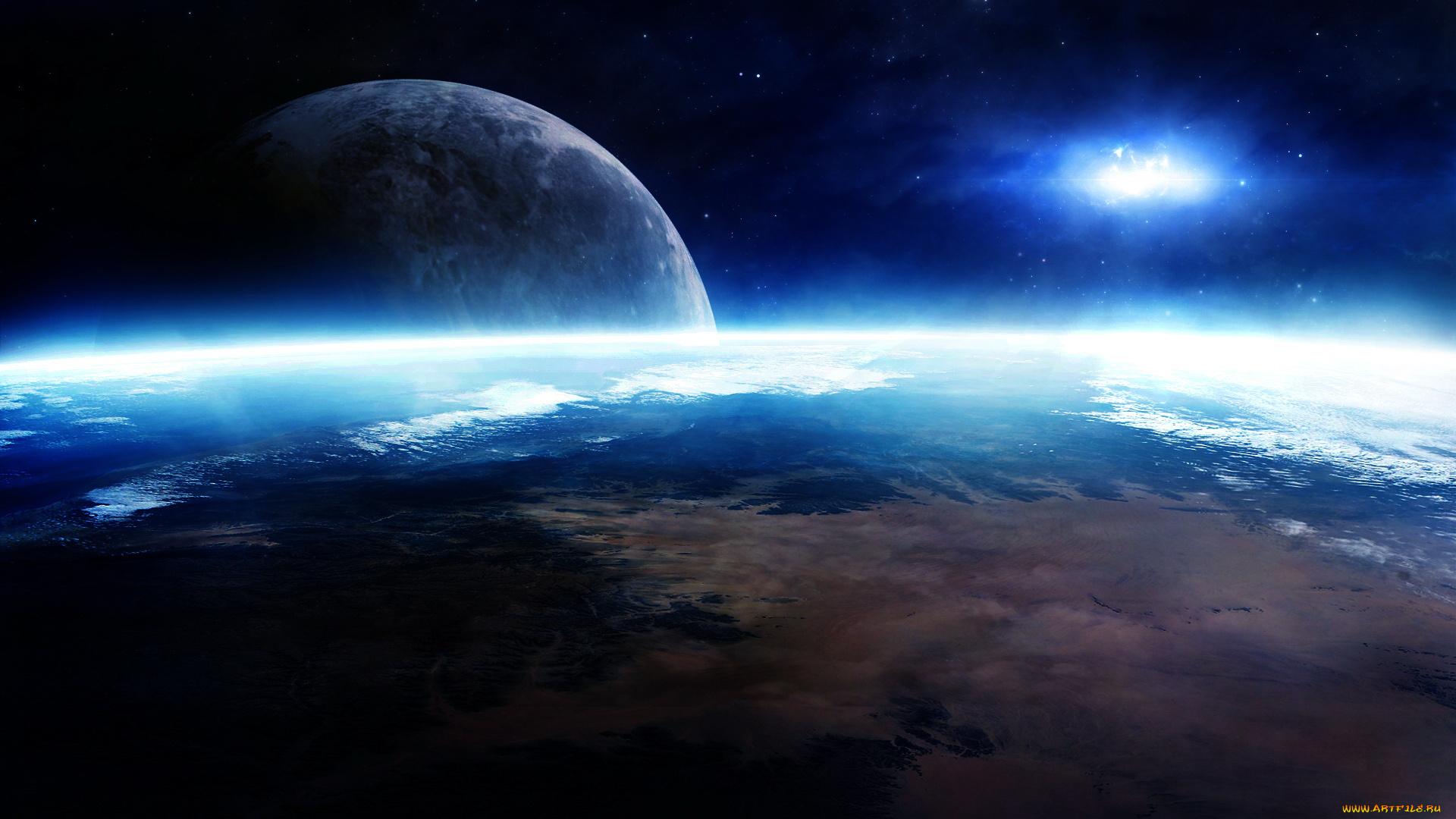 Обои Планеты и спутники над землей картинки на рабочий стол на тему Космос - скачать загрузить