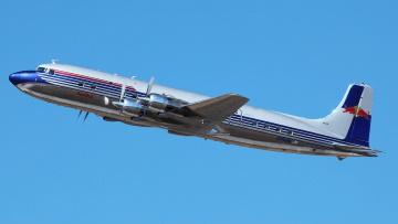 Картинка douglas dc6 авиация пассажирские самолёты турбовинтовой в полете лайнер