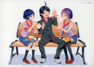 Картинка аниме bakemonogatari девушки парень