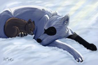 Картинка рисованные животные сказочные мифические собака снег