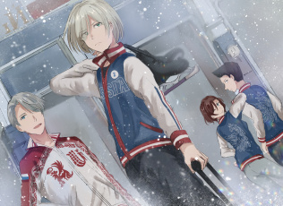 обоя аниме, yuri on ice, команда
