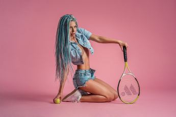 обоя спорт, теннис, георгий, дьяков, blue, hair, ball, tennis, look