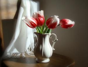 Картинка цветы тюльпаны шаль стул букет кувшин