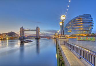 Картинка london england города лондон великобритания река tower bridge city hall темза тауэрский мост river thames фонари набережная