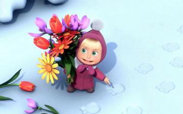 Картинка мультфильмы маша медведь цветы