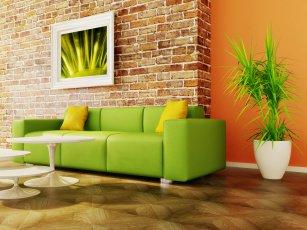 обоя интерьер, мебель, диван, стиль, цветок