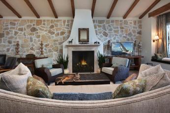 обоя интерьер, камины, диван, подушки, кот, камин