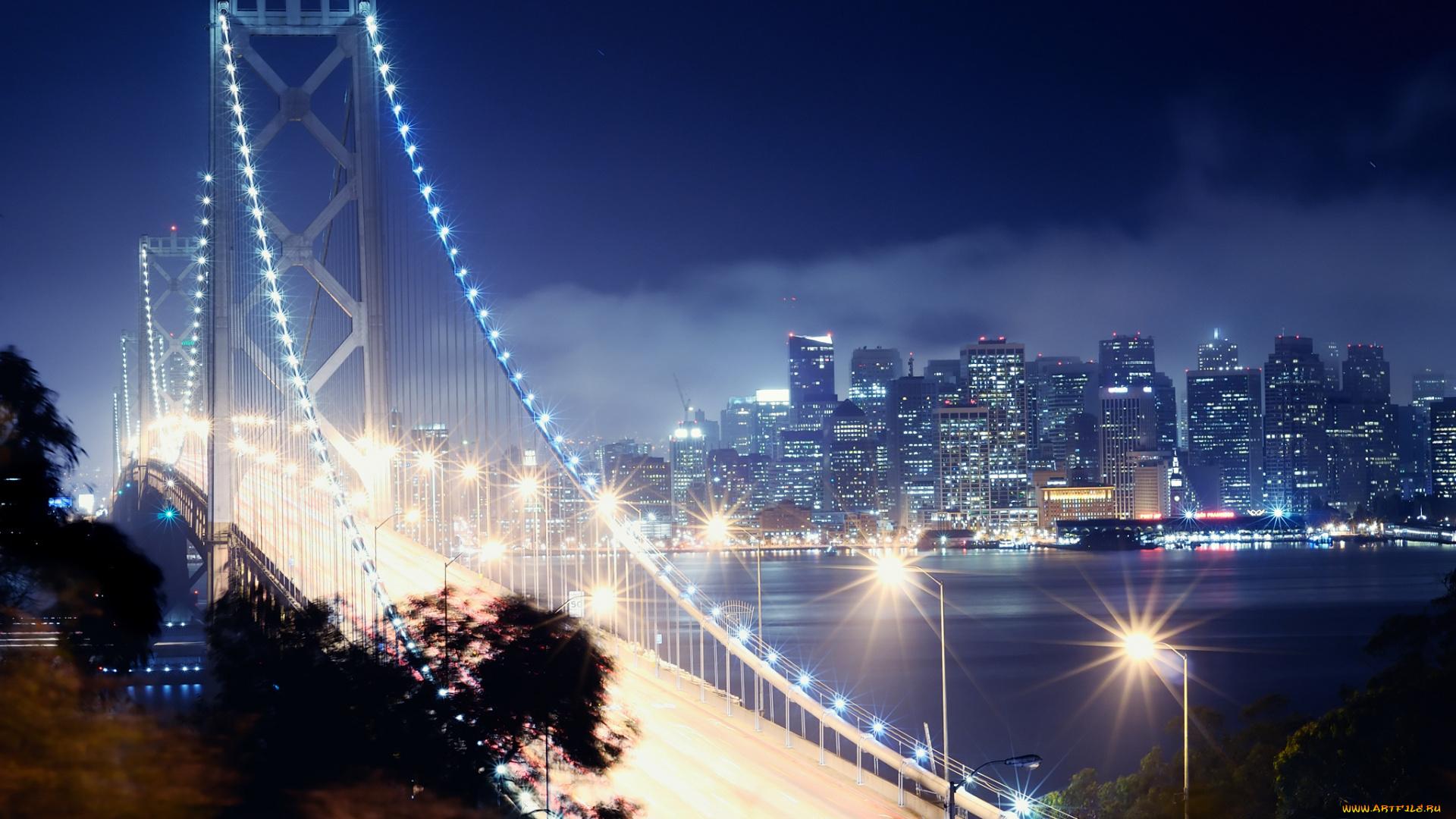 Мост огни ночь  № 3716529  скачать