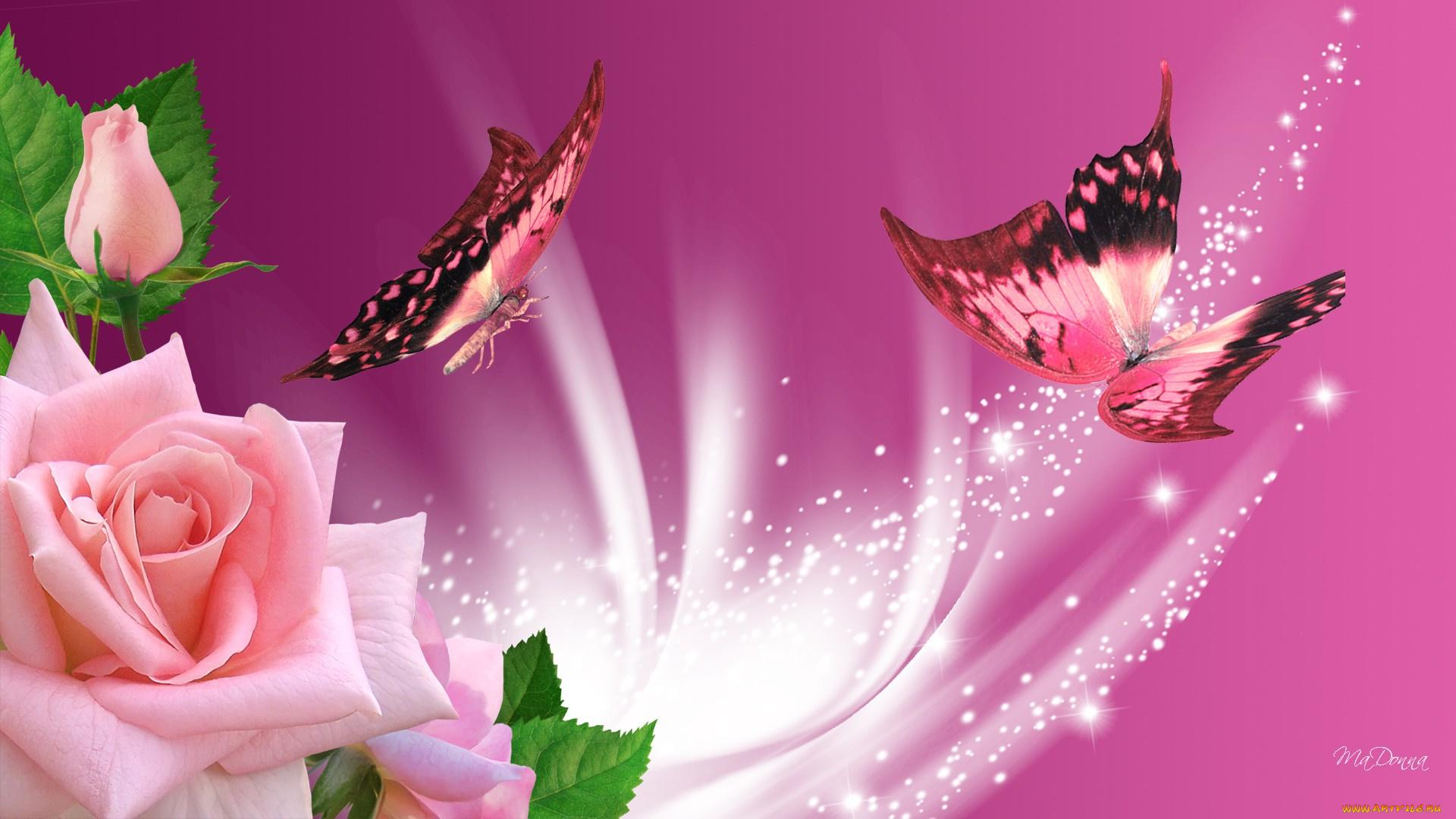 С днем рождения! Открытка с цветами и бабочками - Открытки Открытка с бабочками анимация