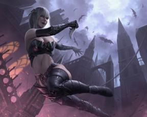 Картинка фэнтези вампиры девушка вампир ночь летучие мыши фантастика нож башни лезвие церковь assassin