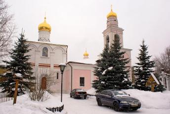 Картинка храм рождества богородицы старом симонове города православные церкви монастыри ели снег автомобили