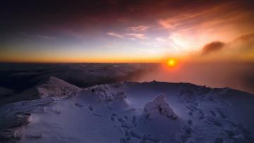 Картинка природа восходы закаты закат горы туман