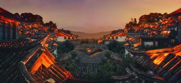 Картинка города -+панорамы пейзаж кнр юньнань здания крыши азия провинция лицзян китай архитектура