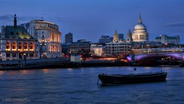 Картинка города лондон+ великобритания река ночь