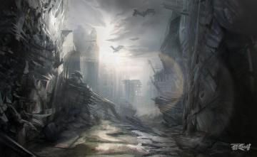 Картинка anas+riasat фэнтези иные+миры +иные+времена разрушения мир постапокалипсис иной руины существа
