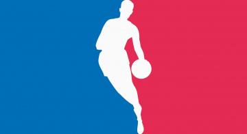обоя спорт, 3d, рисованные, баскетболист, красный, синий, силуэт, мяч