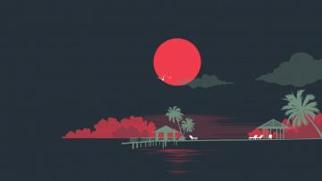 обоя векторная графика, природа , nature, ночь, облака, пальмы, луна, море