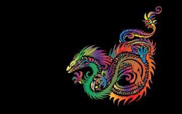 обоя рисованное, минимализм, дракон, фон